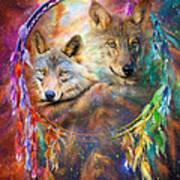 Dream Catcher - Wolf Spirits Art Print