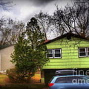Suburban Dream - House With Blue Car Art Print