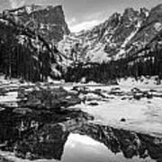Dream Lake Reflection Black And White Art Print