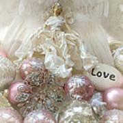 Dreamy Angel Christmas Holiday Shabby Chic Love Print - Holiday Angel Art Romantic Holiday Ornaments Art Print
