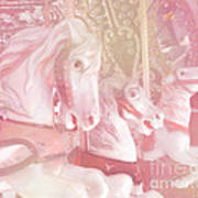 Dreamy Baby Pink Merry Go Round Carousel Horses - Pink Carousel Horses Baby Girl Nursery Decor Art Print