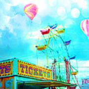 Dreamy Carnival Ferris Wheel Ticket Booth Hot Air Balloons Teal Aquamarine Blue Festival Fair Rides Art Print
