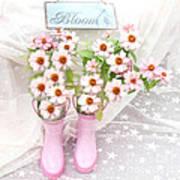Dreamy Cottage Garden Art - Shabby Chic Pink Flowers Garden Bloom With Pink Rain Boots Art Print