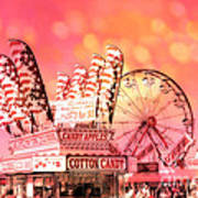 Surreal Hot Pink Orange Carnival Festival Cotton Candy Stand Candy Apples Ferris Wheel Art Art Print