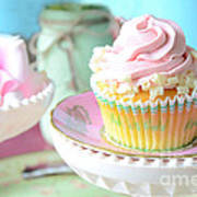 Dreamy Shabby Chic Cupcake Vintage Romantic Food And Floral Photography - Pink Teal Aqua Blue  Art Print