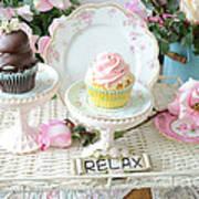 Dreamy Shabby Chic Pink Chocolate Cupcakes Vintage Romantic Food Floral Cupcake Kitchen Art Decor Art Print