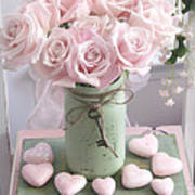 Shabby Chic Pink Roses - Romantic Valentine Roses Hearts Floral Prints Home Decor - Romantic Roses  Art Print