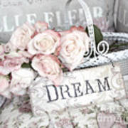Dreamy Shabby Chic Romantic Cottage Chic Roses In White Basket  Art Print