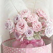 Dreamy Shabby Chic Roses In Pink Polka Dot Hat Box - Romantic Roses Floral Bouquet Art Print