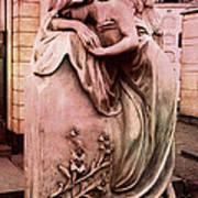 Dreamy Surreal Beautiful Angel Art Photograph - Angel Mourning Weeping At Gravestone  Art Print