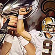 Drew Brees New Orleans Saints Quarterback Artwork Art Print