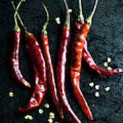 Dried Chilli Peppers Art Print