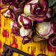 Dried Pink Roses And Key Art Print