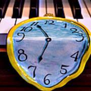 Dripping Clock On Piano Keys Art Print by Garry Gay