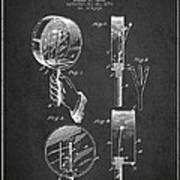 Droop Hand  Drum Patent Drawing From 1892 - Dark Art Print