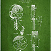 Droop Hand  Drum Patent Drawing From 1892 - Green Art Print