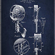 Droop Hand  Drum Patent Drawing From 1892 - Navy Blue Art Print