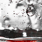 Drops Of Water With Red Art Print