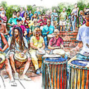 Drum Circle Of Friends Art Print