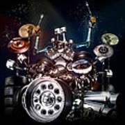 Drum Machine - The Band's Engine Art Print by Alessandro Della Pietra