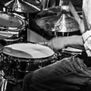 Drummer At Work Art Print