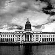 Dublin - The Custom House - Bw Art Print