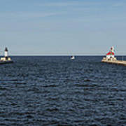Duluth N And S Pier Lighthouses 5 Art Print