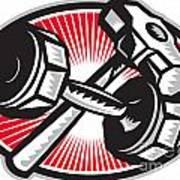 Dumbbell And Sledgehammer Retro Art Print