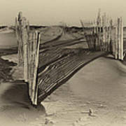 Dune Erosion Fence Outer Banks Nc Antique Plate Img_3761 Art Print