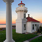 Dusk At Mukilteo Lighhouse Art Print