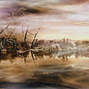 Dusk At The Pond Art Print