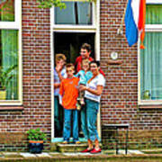 Dutch Family On Orange Day In Enkhuizen-netherlands Art Print