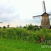 Dutch Landscape With Windmills Art Print by Carol Groenen