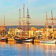 Dutch Tall Ships Docked Art Print by Bill  Robinson