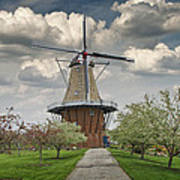 Dutch Windmill The Dezwaan On Windmill Island In Holland Michigan Art Print