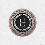 E - Silver Vintage Monogram On White Leather Art Print