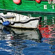 E17 Reflections - Lyme Regis Harbour Art Print