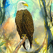 Eagle In Abstract Art Print
