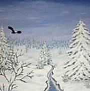 Eagle On Winter Lanscape Art Print