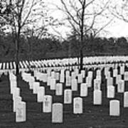 Eagle Point National Cemetery In Black And White Art Print by Mick Anderson