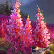 Eagle River Summer Chickadee And Fireweed Alaskan Landscape Art Print