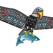 Eagle Salmon Totem Art Print