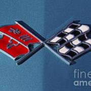 Early C3 Corvette Emblem Blue Art Print