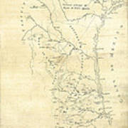 Early Hand-drawn Southern Texas Map C. 1795 Art Print