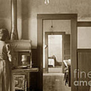 Early Kitchen With A Wood Kitchen Stove Circa 1906 Art Print