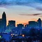 Early Morning Sunrise Over Charlotte City Skyline Downtown Art Print