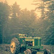 Early Morning Tractor In Farm Field Art Print