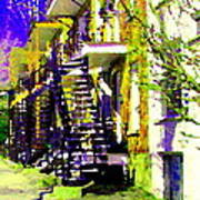 Early Spring Stroll City Streets With Spiral Staircases Art Of Montreal Street Scenes Carole Spandau Art Print