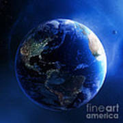 Earth And Galaxy With City Lights Art Print