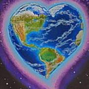 Earth Equals Heart Art Print